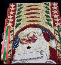 6 Christmas Santa Claus Placemats Tapestry Jacquard Woven Placemats 19 x 12 - $35.99