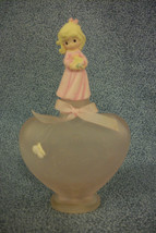 2003 Precious Moments Collectible Pink Perfume Bottle w/ Girl Figure Top... - $6.91