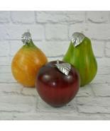 Vintage Handmade Set of 3 Wooden Fruit Display Pear , Apple and Peach - $28.05