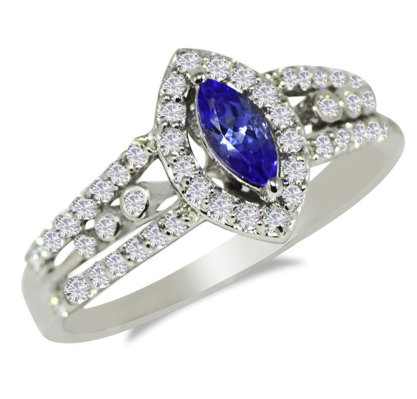 Nice Genuine Tanzanite And Cubic Zirconi 925 Silver Jewelry Ring Sz 6.5 SHRI0517