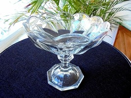 Heisey Puritan Pattern Clear Crystal Compote  1901 - 1910 - $39.59