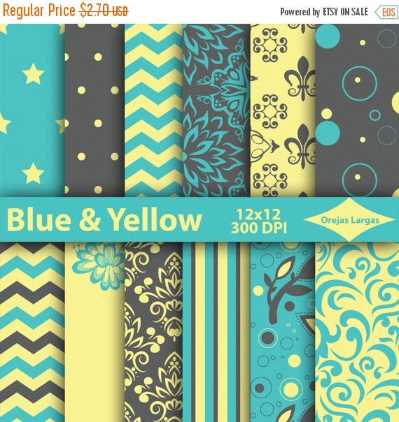 Blue Yellow Gray Digital Paper Scrapbook And 13 Similar Items