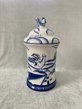 Vintage Ceramic Cookie Jar Canister Blue and White with Rooster / Chicke... - $22.44