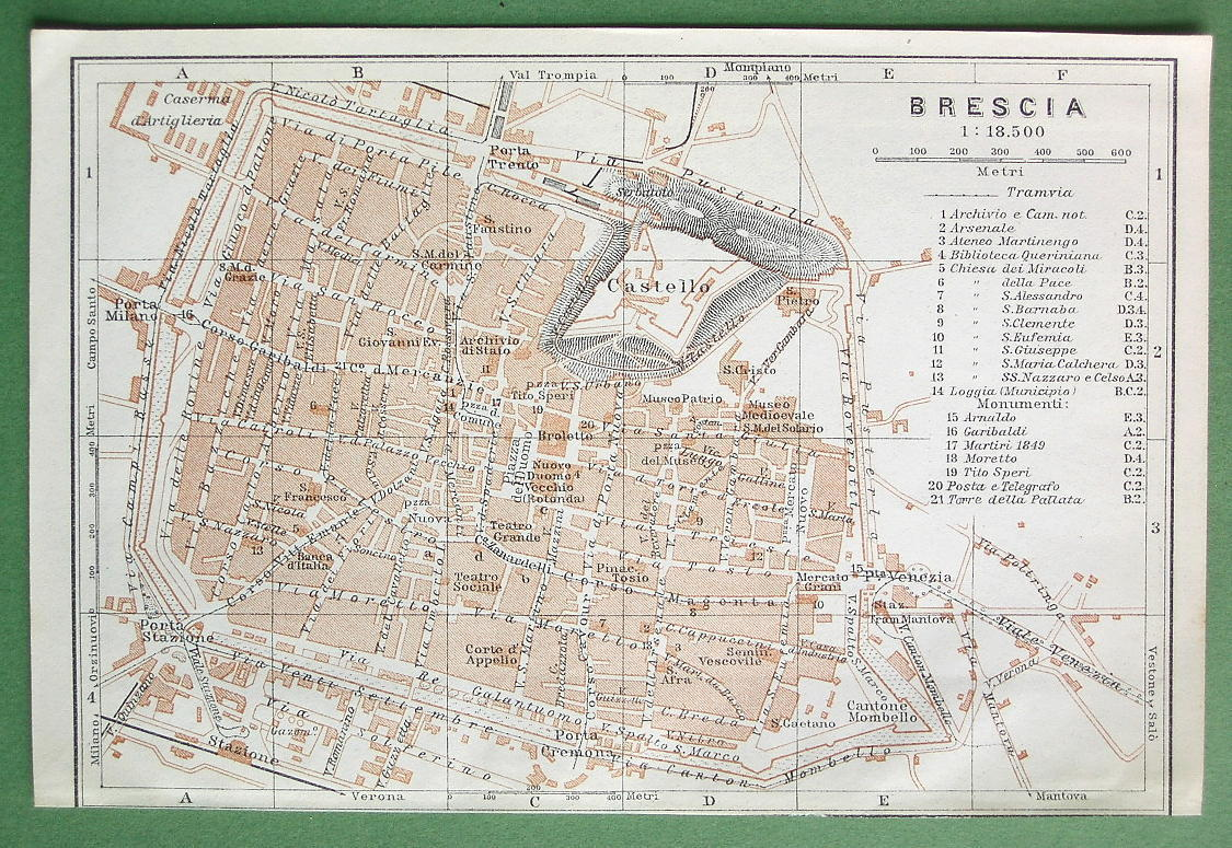 1909 MAP ORIGINAL Baedeker - ITALY Brescia City Plan
