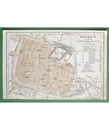1909 MAP ORIGINAL Baedeker - ITALY Brescia City Plan - $4.49