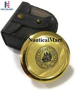 Marine Brass Pocket Compass with Leather Case Nautical Gift Maritime Col... - $29.00