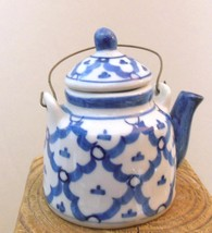 """Miniature Tea Pot Pier 1 Blue and White with Wire Handle 3"""" - $14.40"""