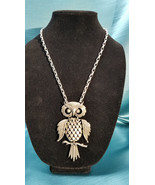 """Pendant Articulated 4"""" Owl Pewter Look Chain 22"""" - $18.99"""