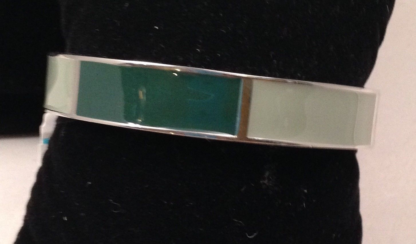 New Cookie Lee Shades of Green Cuff Bracelet on Silvertone