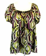 LANE BRYANT Plus Size 14W 16W Geometric Beaded Satin Top - $4.99