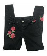 Silver Crush Womens Black Jeans Embroidered Roses Size 1/2 - $14.85
