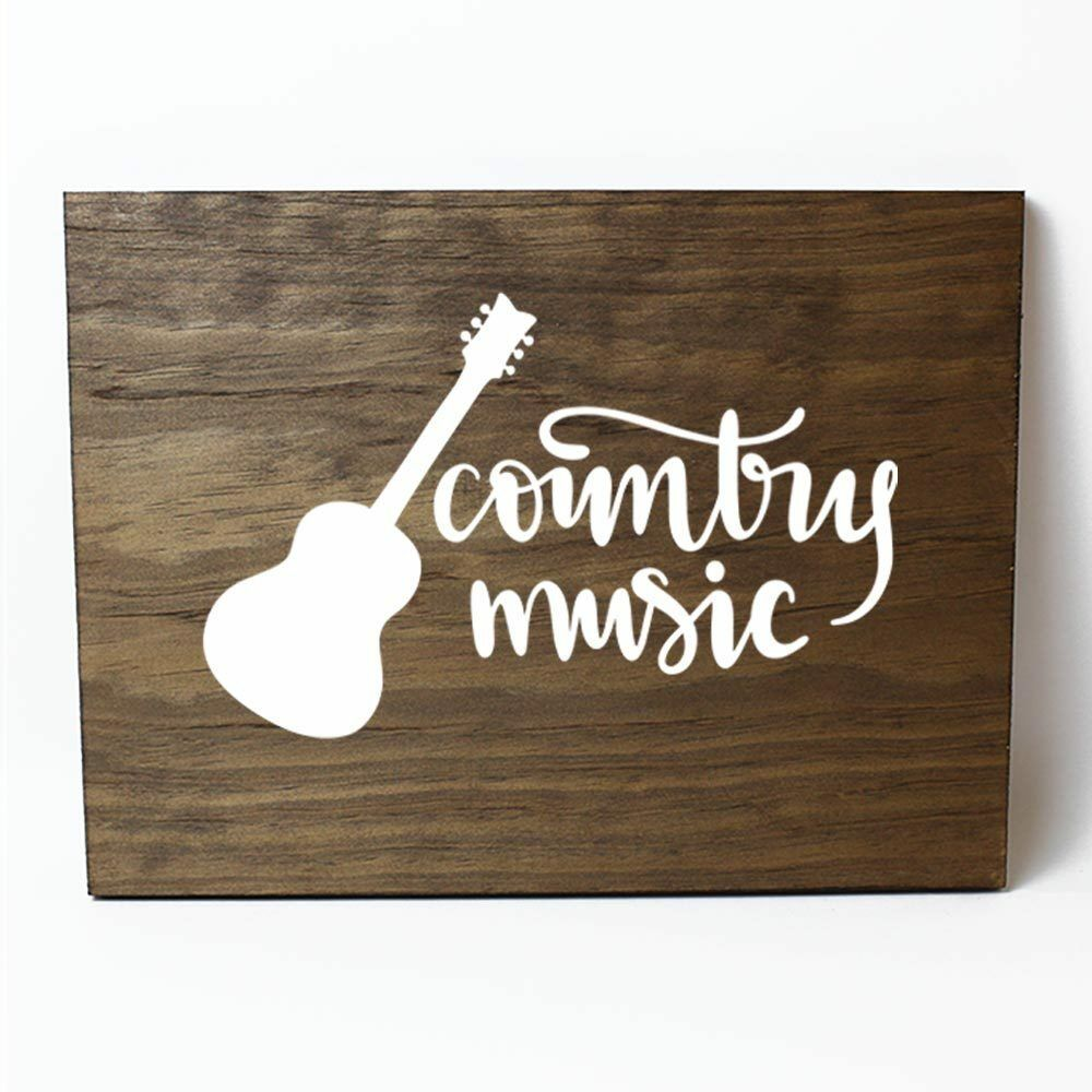 Country Music Solid Pine Wood Wall Plaque Sign Home Decor