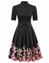 Women's 1950s Vintage Floral Print A-line Swing Dresses Black S - $27.91