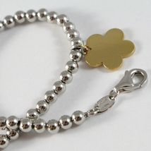 18k YELLOW WHITE GOLD BRACELET SMOOTH BRIGHT BALLS & DAISY FLOWER MADE IN ITALY image 3