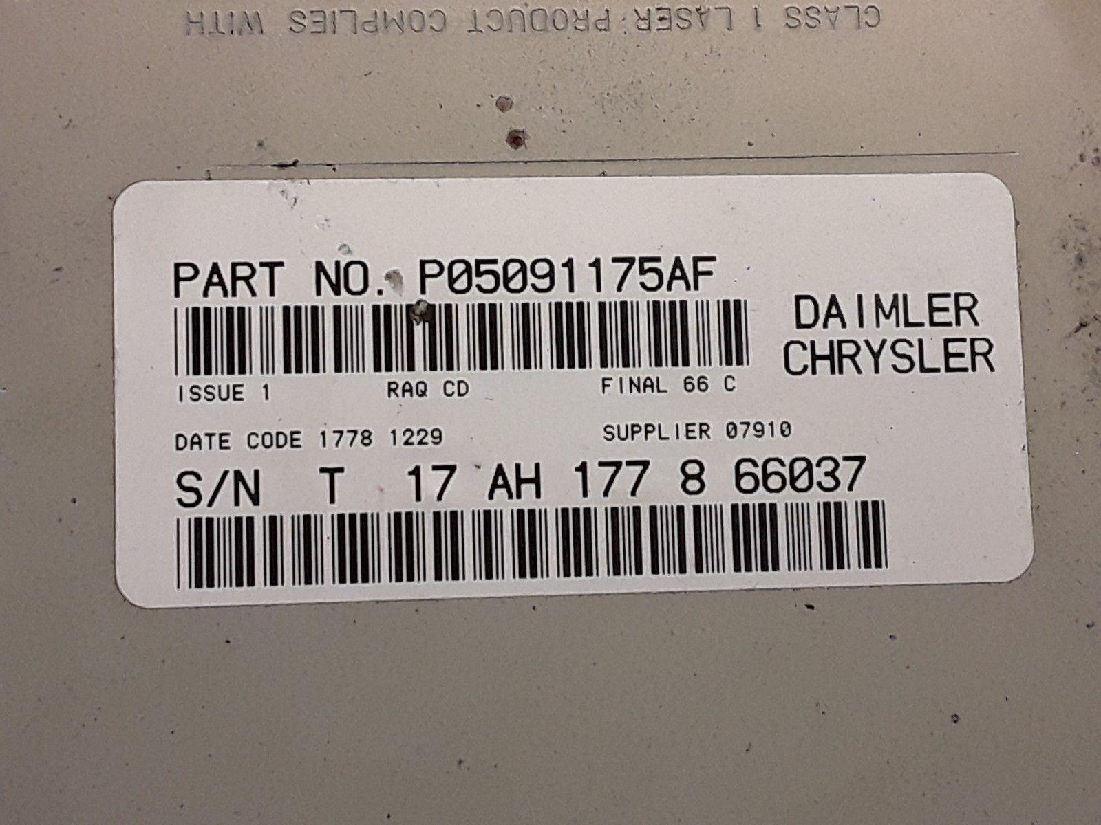 04 05 06 07 08 09 Dodge Chrysler Jeep AM FM 6 disc CD radio receiver P05091175AF image 4