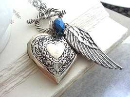 Silver Heart Locket Silver Angel Wing Necklace Birthstone Necklace Perso... - $36.00
