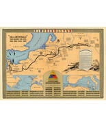 """Historic Military Map 2nd Armored Division """"Hell on wheels"""" War against ... - $12.87+"""