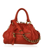 Authentic Marc Jacobs Red Coral Quilted Leather Stam Doctor Bag - $237.60