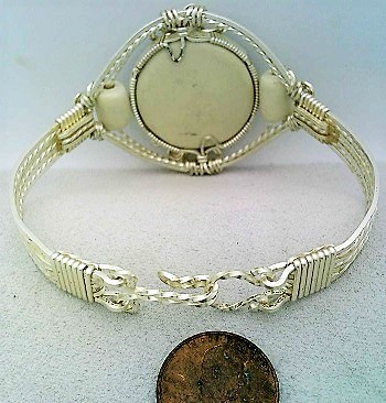 English Porcelain Silver Wire Wrap Bracelet Sz. 6.5
