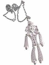 Vintage Necklace Huge Articulated Clown Pendant Silvertone 1970s - $21.84