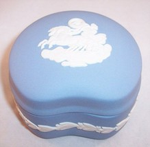 Wedgwood Blue Jasperware Kidney Shaped Trinket Box, Mint Condition! - $18.99