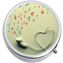 Headphones Music Notes Hearts Medicine Vitamin Compact Pill Box - $9.78