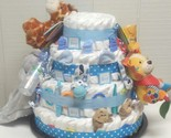 "MUST SEE ! Jungle / Safari Baby Shower 4 Tier Large Diaper Cake Gift 18"" At Base"