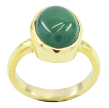 adorable Green Onyx Gold Plated Green Ring genuine Designer US gift - $24.99
