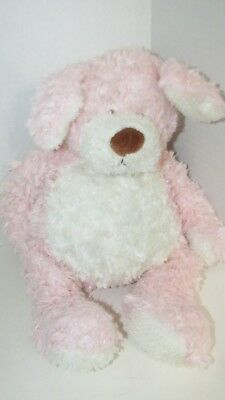 Primary image for Baby Ganz Bellifuls puppy dog plush pink white rattle swirled fur USED