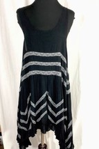 Free People Intimately Black Mini Dress Tunic Polka Dots Handkerchief Hem Med - $56.13