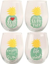 Vanilla Sky Set of 4 Pineapple Stemless Wine Glass 20 oz By Home Essentials - $47.47