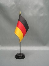"""GERMANY 4X6"""" TABLE TOP FLAG W/ BASE NEW DESK TOP HANDHELD STICK FLAG - $4.95"""