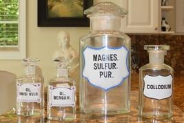 4 ANTIQUE EUROPEAN APOTHECARY PHARMACY CRYSTAL GLASS BOTTLES JARS - $349.00