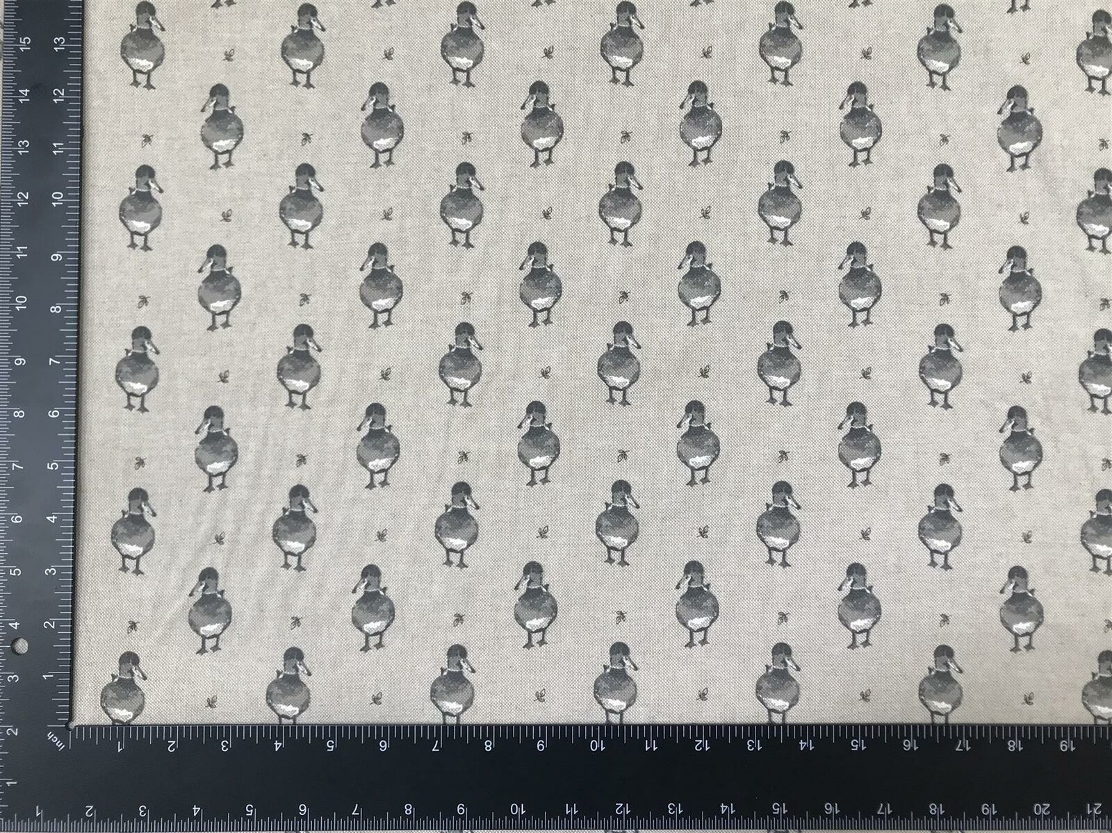 Vintage Duck Grey Linen Look High Quality Fabric Material 3 Sizes