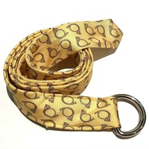 J Crew Belt Silk D Ring Tie Scarf Yellow With Brown Horns Novelty Horn W... - $13.37