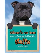 BLACK STAFFORDSHIRE BULL TERRIER WELCOME SIGN great Christmas stocking f... - $4.84
