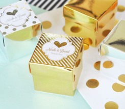 108 Personalized Gold or Silver Foil Cube Candy Mint Bridal Wedding Favo... - $96.19