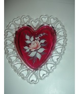 Westmoreland Ruby Stain Glass Heart Dish Hand Painted Rose - $18.74