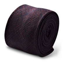 Frederick Thomas navy blue and orange check tweed wool men's tie FT3365 - $16.01