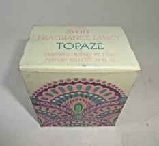 Avon Fragrance Fancy TOPAZE Perfumed Talc Powder & Rollette 1972 NOS NIB - $16.54