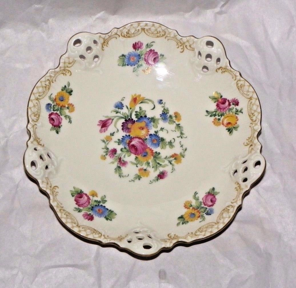 Primary image for 1901-1933 ELFENBEIN, ROSENTHAL KRONACH- GERMANY MOLIERE HANDPAINTED FLORAL BOWL