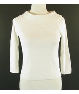 TALBOTS Size Petite S PS White Ribbed Cowl Top - $12.99
