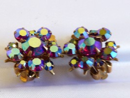 Gold tone Aurora Borealis Garnet Red color Rhinestone round flower clip Earrings - $24.75