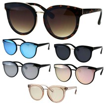Womens Round Horn Rim Color Mirror Panel Lens Mod Retro Sunglasses - $9.95