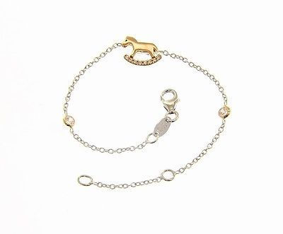 18 KT WHITE AND ROSE GOLD BRACELET FOR KIDS WITH ROCKING HORSE MADE IN ITALY