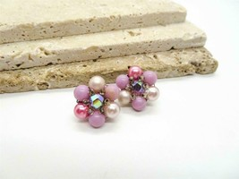 Vintage Signed Japan Purple Pink Bead Cluster Flower Clip On Earrings D56 - $13.99