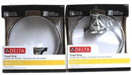 2 Delta Towel Ring Porter Collection Chrome Finish Easy Clip Install 78446 - $39.99