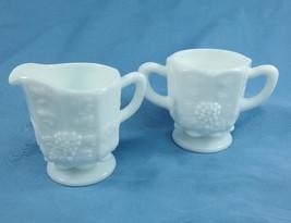Westmoreland Milk Glass Footed Sugar Bowl & Creamer Paneled Grape Cottag... - $19.78