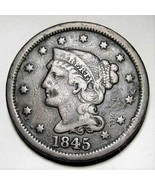 1845 Large Cent Braided Hair FINE AD243 - $25.09