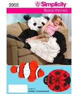 Simplicity Robin Greenwood Pattern 3955 Fleece Throws - Panda, Ladybug, ... - $26.95